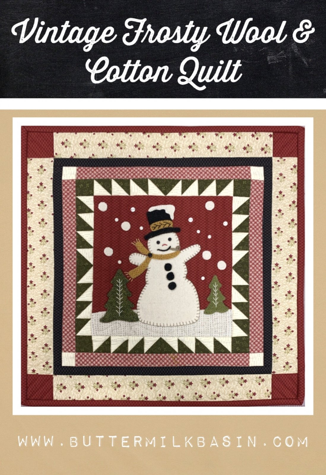 Vintage Frosty Wool & Cotton Quilt * Kit & Pattern