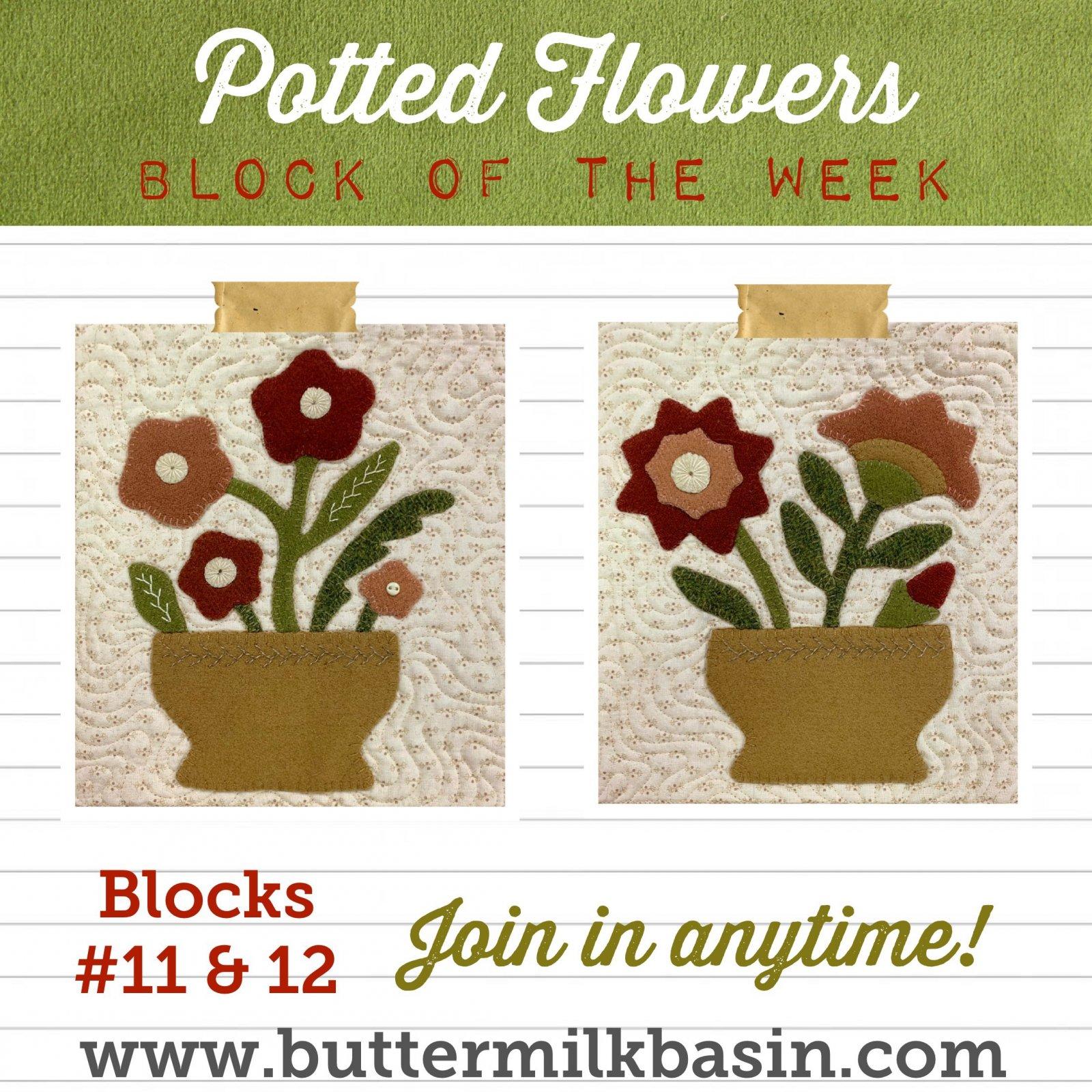 Vintage Potted Flowers Quilt Block of the Week *Blocks 11 & 12 Pattern & Kit