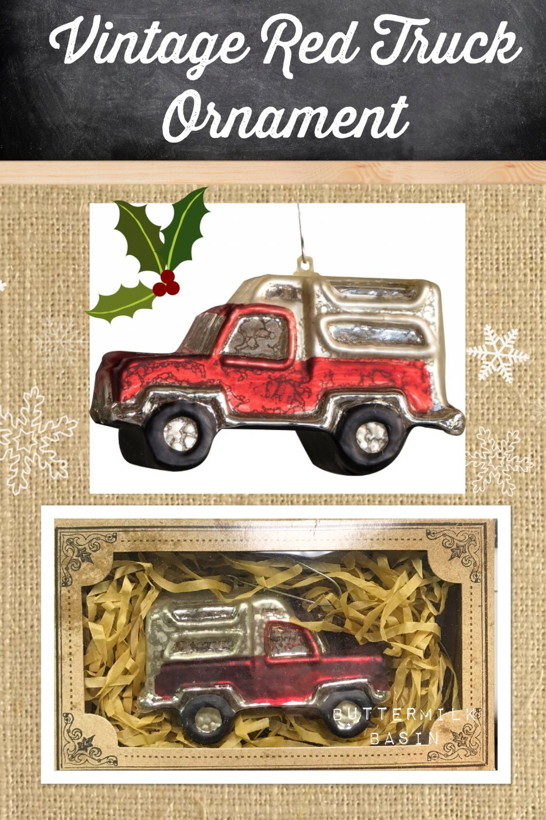 Vintage Red Truck Ornament