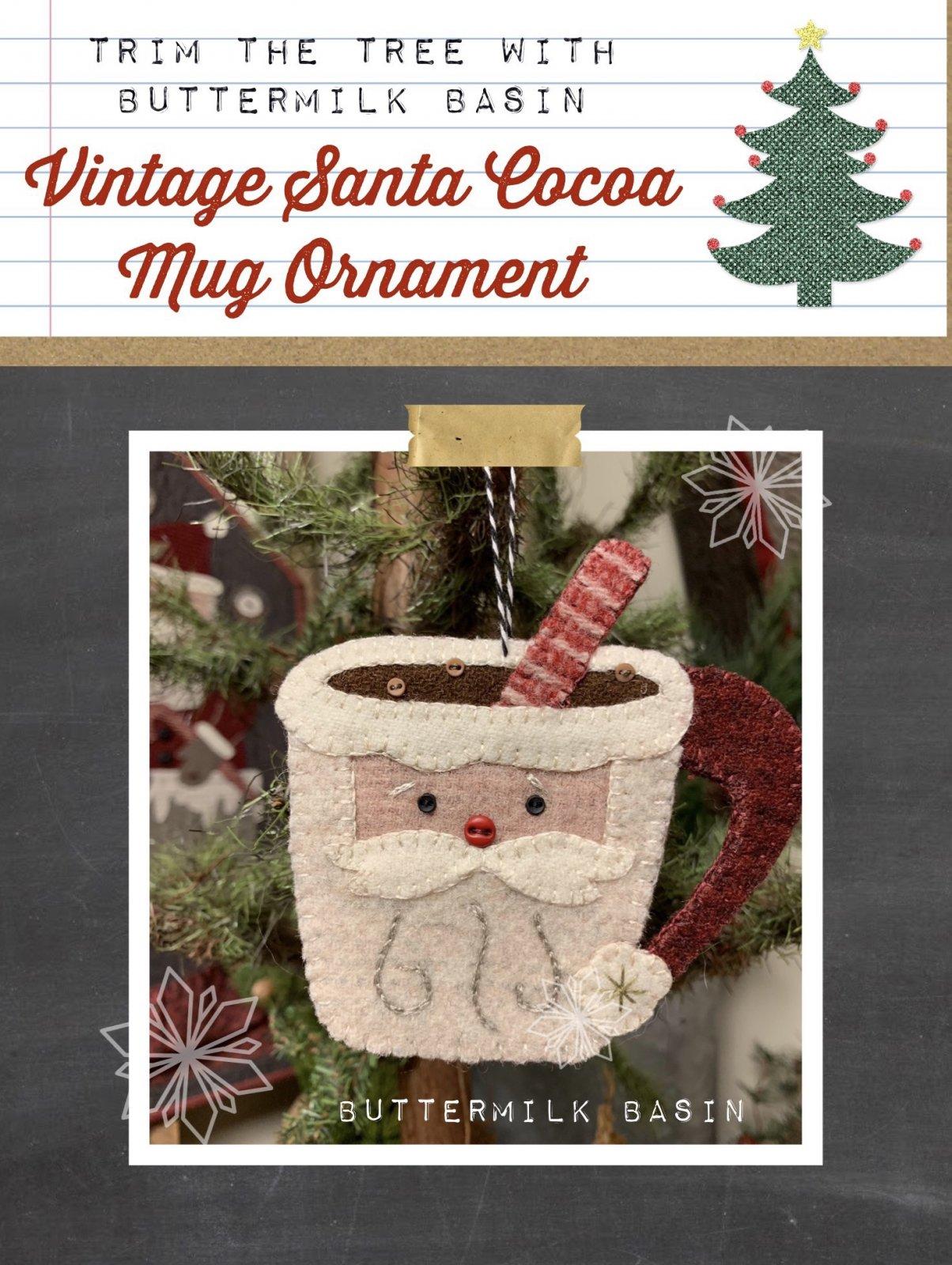 Vintage Santa Cocoa Mug Ornament * Pattern & Kit
