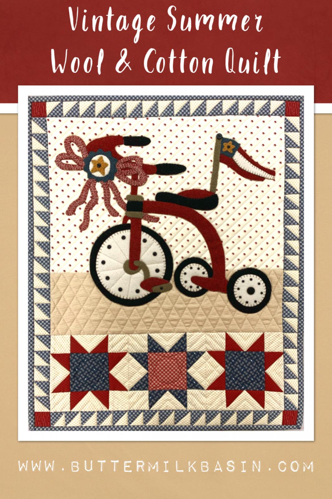 Vintage Wool & Cotton Summer Quilt * KIT & Pattern