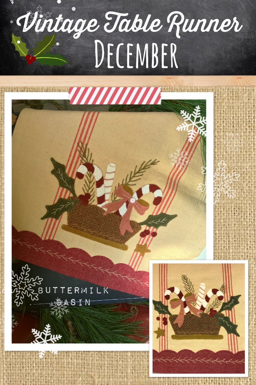 Vintage Table Runner thru the Year December Pattern