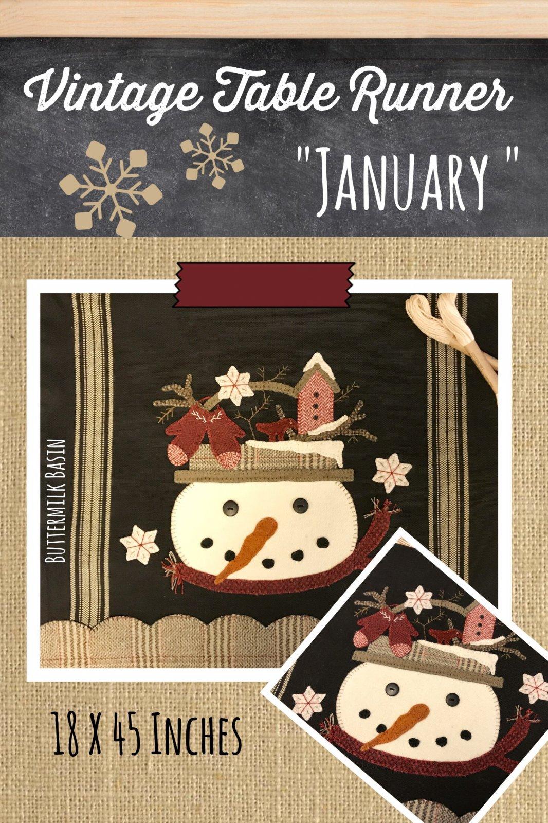 Vintage Table Runner thru the Year January KIT {Both Sides} & Pattern