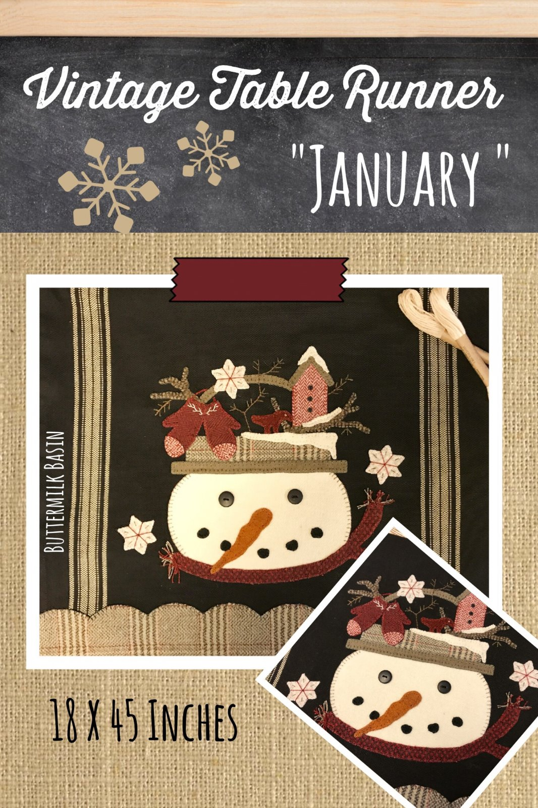 Vintage Table Runner thru the Year January Pattern