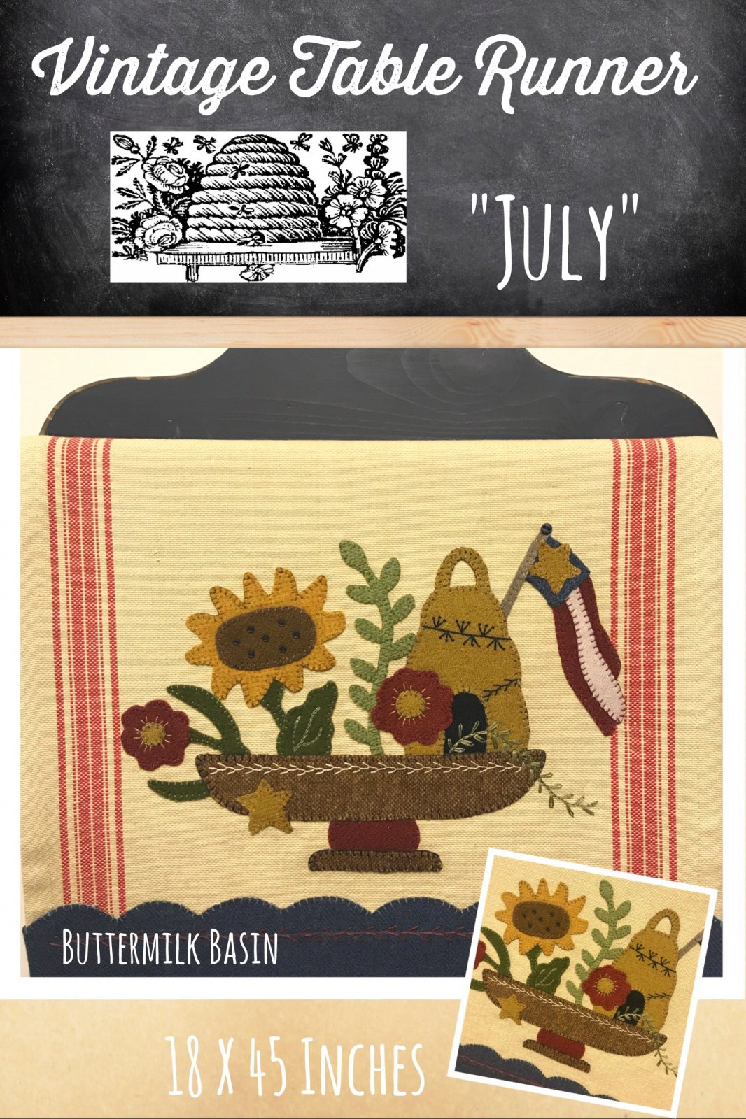 Vintage Table Runner thru the Year July KIT {Both Sides} & Pattern
