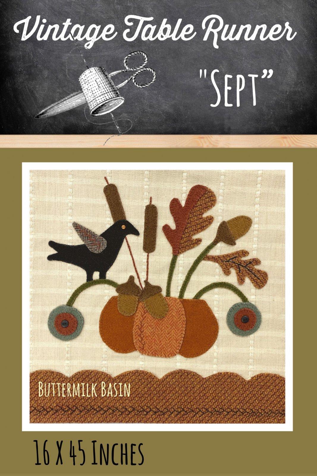 Vintage Table Runner thru the Year September KIT {Both Sides} & Pattern