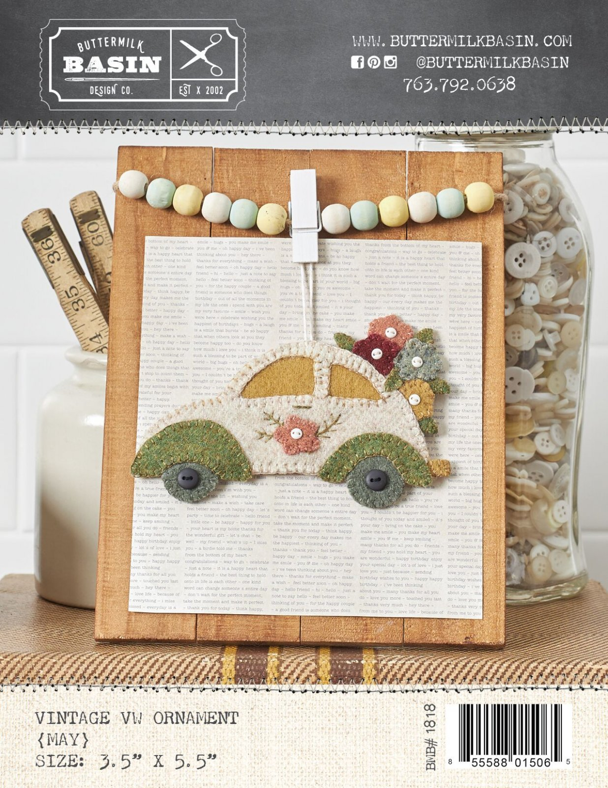 Vintage VW May Ornament * Pattern
