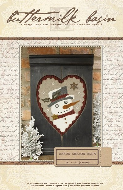 January Gathered Hearts Woolen Snowman Heart * Pattern