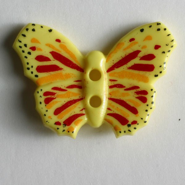 Button - Yellow Butterfly