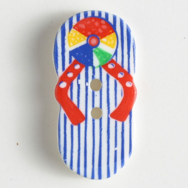 Button - Blue Stripe Flip-Flop