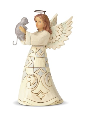 White Farmhouse Angel w/Cat 4060961