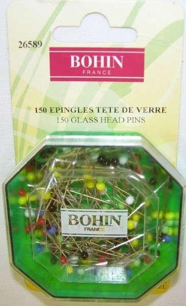 Bohin Glass Head Pins 1 1/4 in.