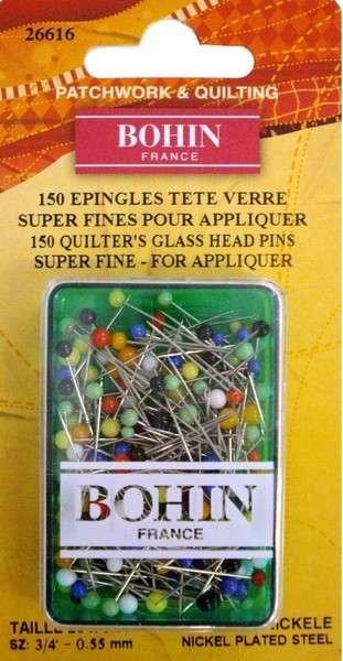 Bohin Glass Head Pins 3/4 in.