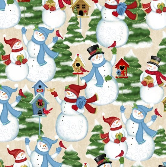 Winter Joy 3802-44 Snowman Scene Cream