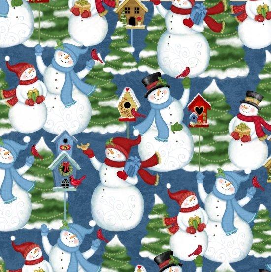 Winter Joy 3802-77 Snowman Scene Blue