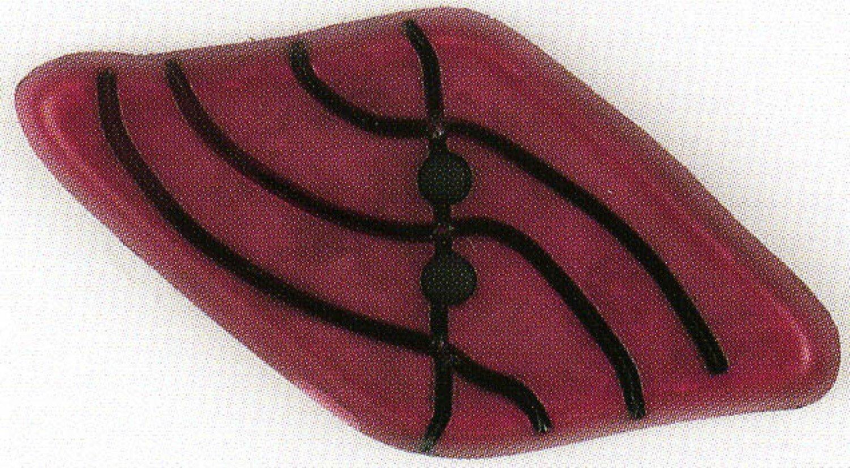 Diamond Polyamide Button Dark Red 2-1/8in
