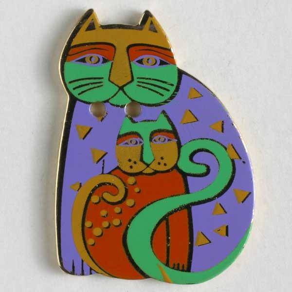 Laurel Burch Parent and Child Cat, Button
