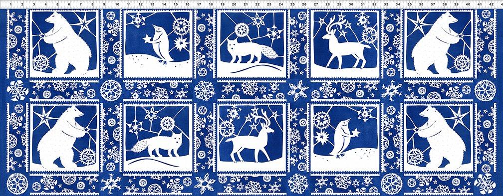 Snowy Paper Cuts  Panel Blue 4JPL 1