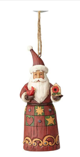Folklore Santa w/Birdhouse Ornament 6001450