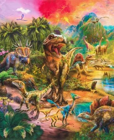 Wild Dinosaur Digital Panel 36in Repeat AYKD-18263-286 WILD