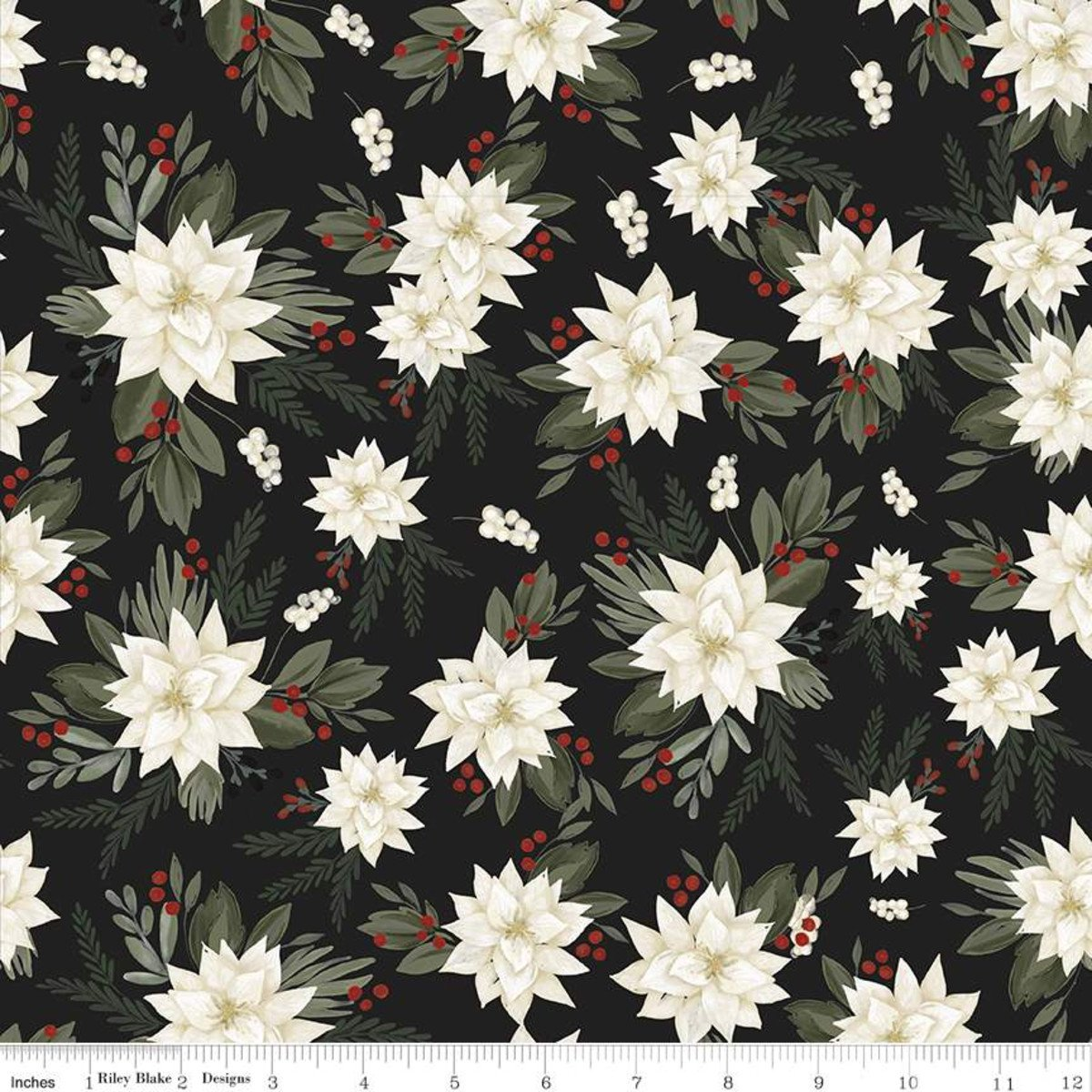 Farmhouse Christmas Poinsettias C10950 Black