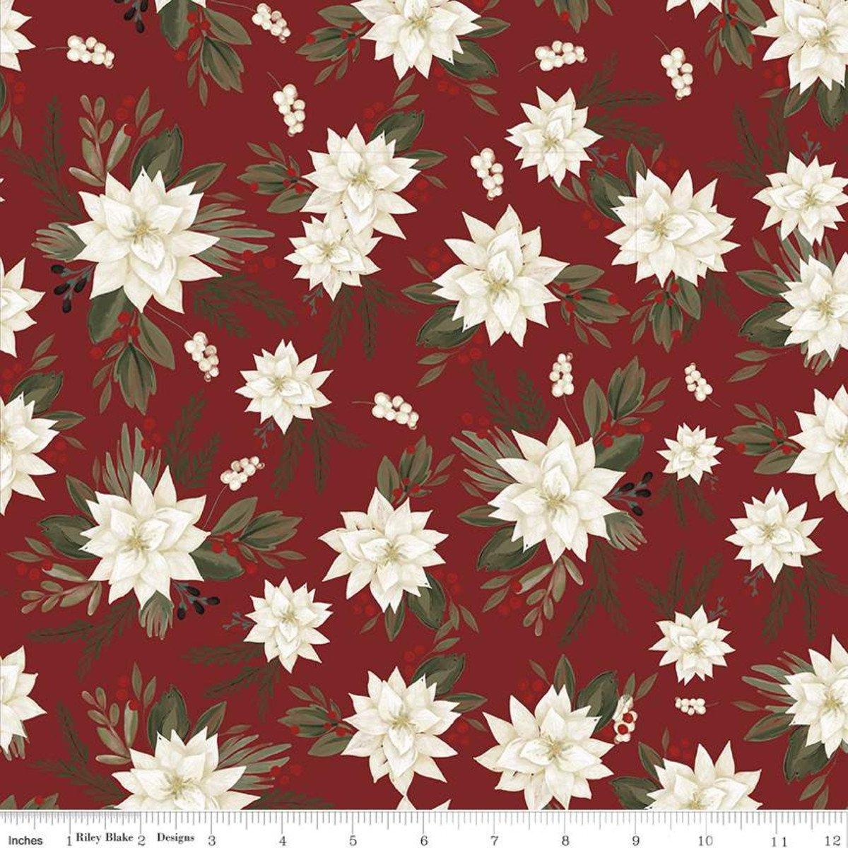 Farmhouse Christmas Poinsettias C10950 Red