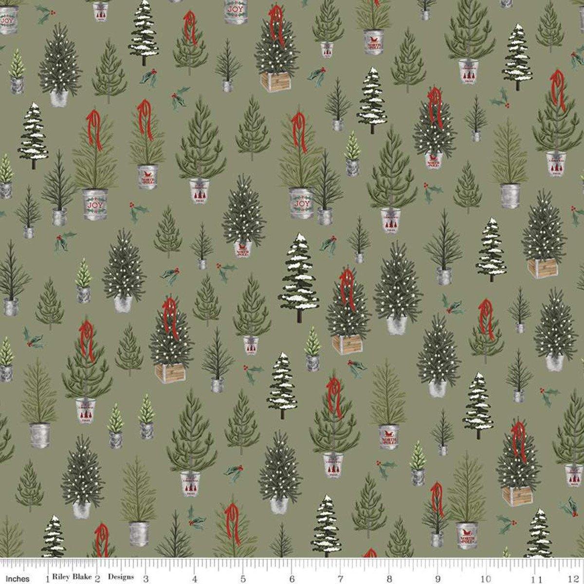 Farmhouse Christmas Trees C10951 Sage