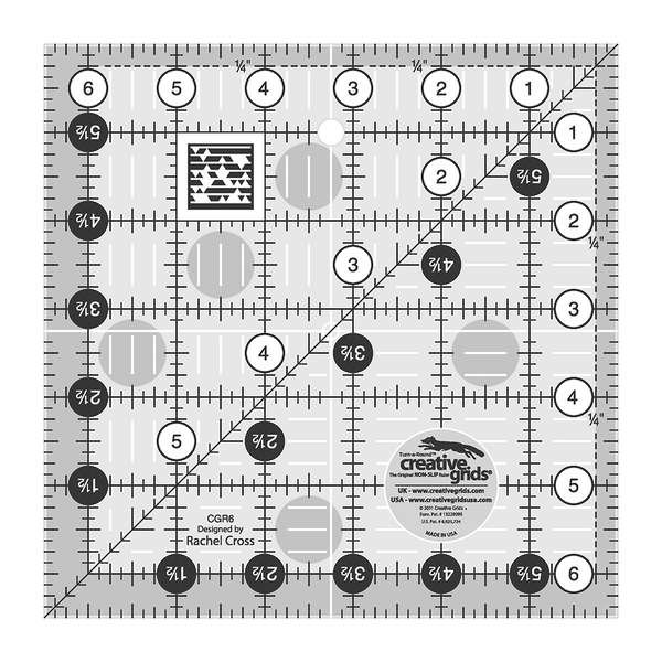 Creative Grids Left Handed Quilting Ruler 6 1/2in Square