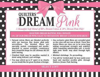 Quilters Dream Pink Select Blend Throw Size Batting