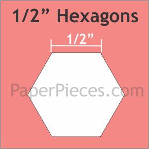 Paper Pieces 1/2 Hexagon