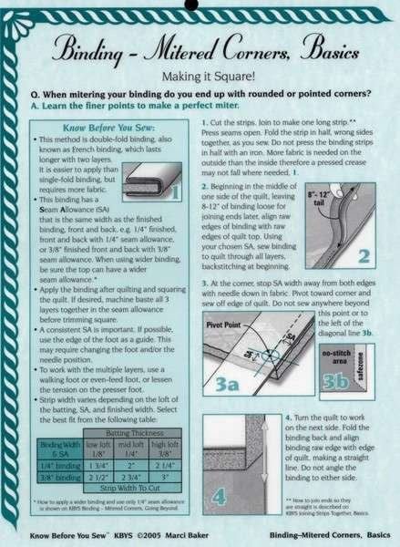 Alicia's Attic Binding Mitered Corners Basics Instruction Sheet