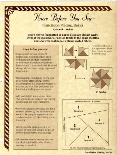 Alicia's Attic Foundation Piecing Basics Instructions Laminate