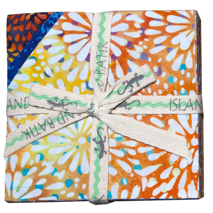 5 squares,  Island Stamps, Pressed Petals