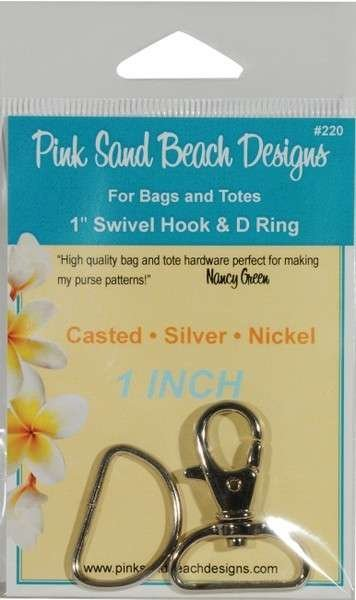 Swivel Hook and D Ring - Silver Nickel 1 in.
