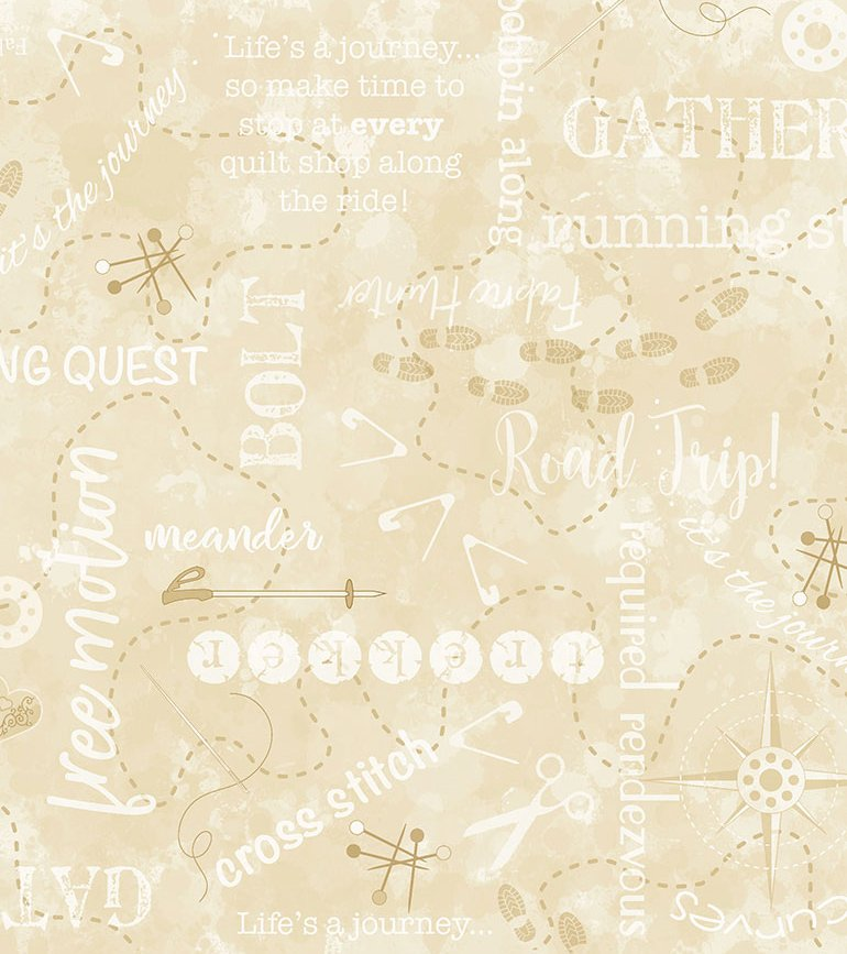 Cross Stitch Quilting Quest Cream QTI-C7735