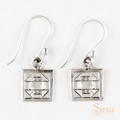 Sterling Silver Mini Churn Dash Earrings on Hook