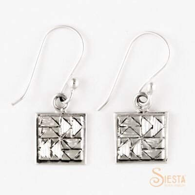 Sterling Silver Mini Dutchman's Puzzle Earrings on Hook