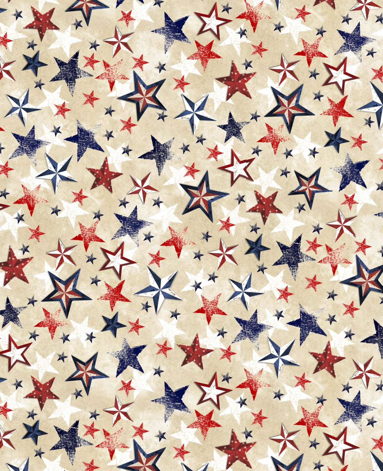 Patriotic Various Stars USA-C7999-CREAM