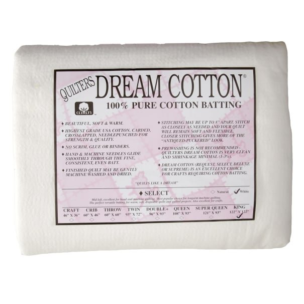 Quilters Dream King (120x122) White Cotton Batting