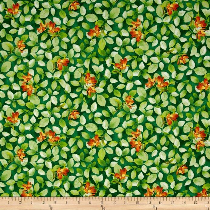 Belle - Flower & Leaf Dk Jade