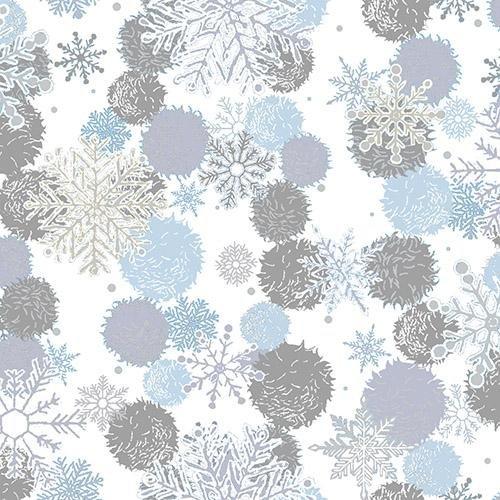 Blue Holidays Snowflakes White