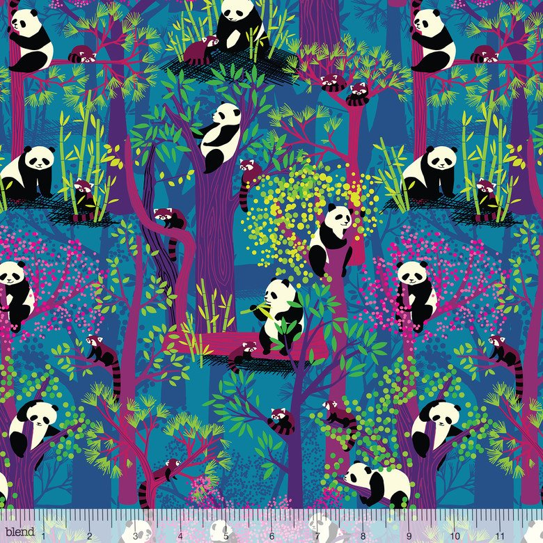 Panda Forest Bamboo Eaters Blue