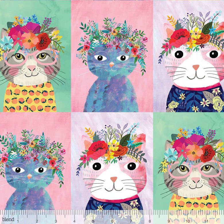floral pets - Floral Kitty Multi Panel (12 row)