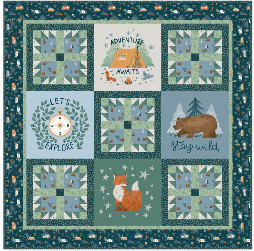 Camp Woodland Boxed Quilt Kit (63.5x63.5)