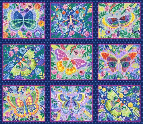 Wonderland Butterfly Blocks Panel (24x44)