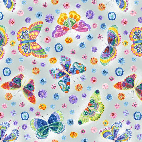 Wonderland Butterfly Floral Lt. Gray