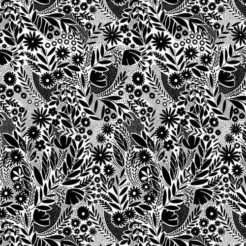 Black Tie Leaves & Flowers 108 wide backing
