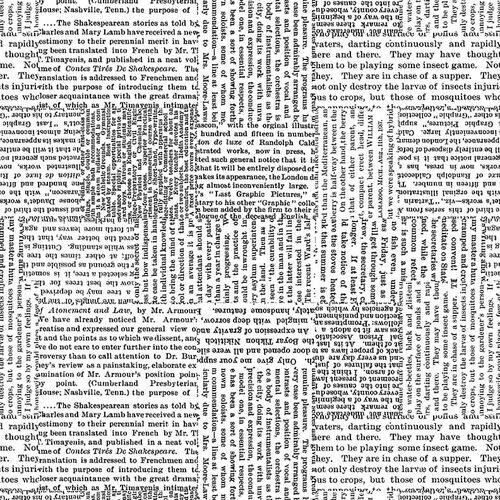 Black Tie Newsprint 108 wide backing