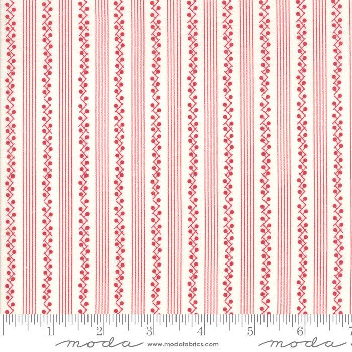 My Redwork Garden Morning Glories Stripe Red Cream