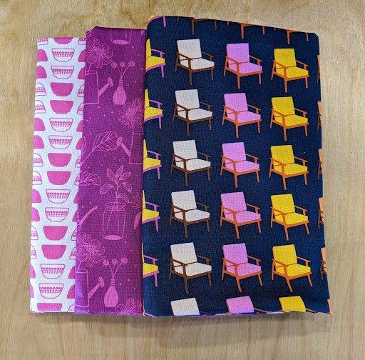 3 Yard Quilt Kit - Butterscotch Navy Chairs/Pink Bowls